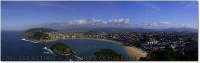 San Sebastian, Donostia - Santa Clara island and Ondarreta and la Concha beaches seen from Monte Igueldo.