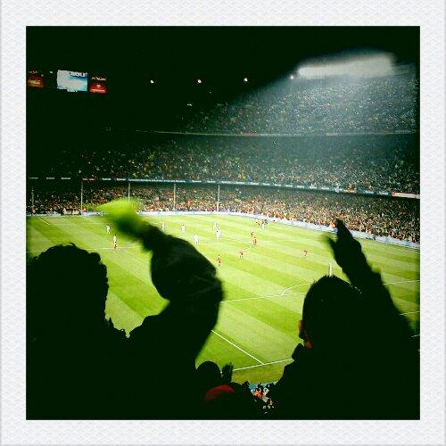 celebrando los goles de fc barcelona - barça-real madrid 2010 - camp nou